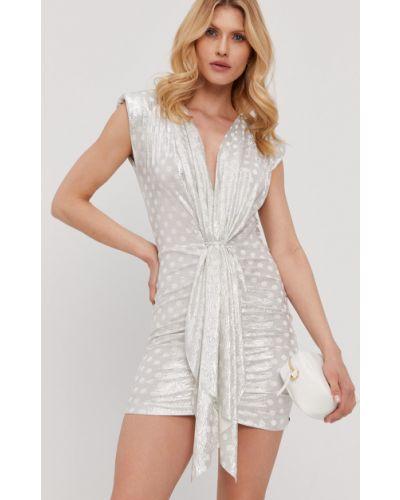 Sukienka koktajlowa srebrna bez rękawów w szpic Nissa