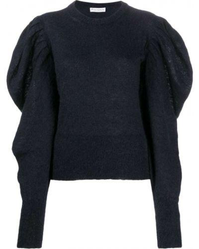 С рукавами синий джемпер из мохера с круглым вырезом Jw Anderson