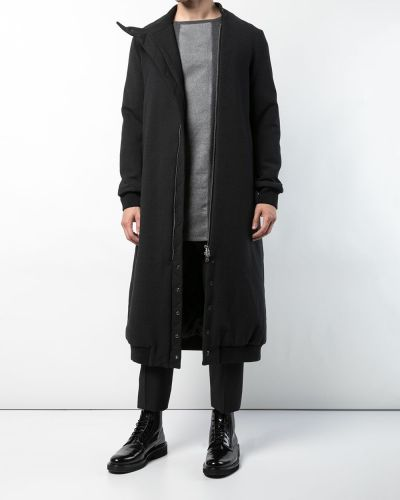 Черное шерстяное длинное пальто на молнии Thamanyah