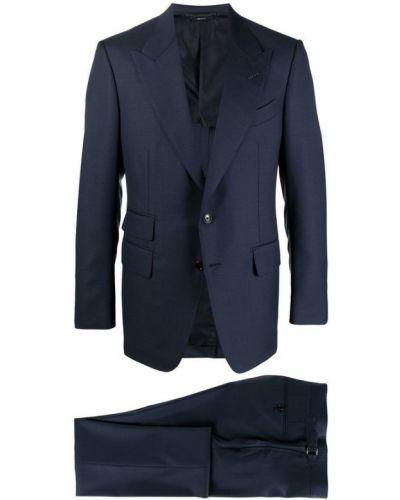 Niebieski garnitur zapinane na guziki z długimi rękawami Tom Ford