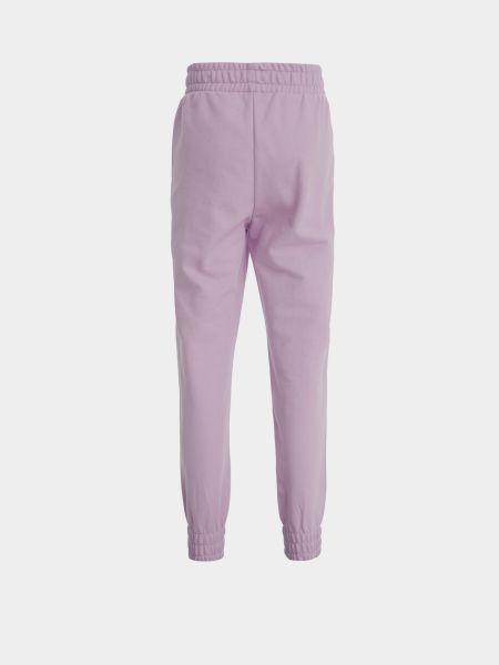 Фиолетовые хлопковые спортивные брюки на резинке Defacto
