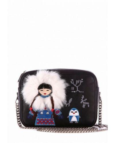 Черная кожаный сумка Alba Soboni