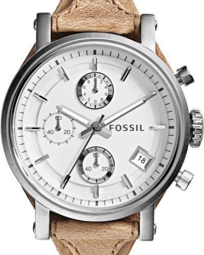 Водонепроницаемые часы на кожаном ремешке кварцевые Fossil