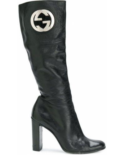 Кожаные сапоги черные на каблуке Gucci Vintage