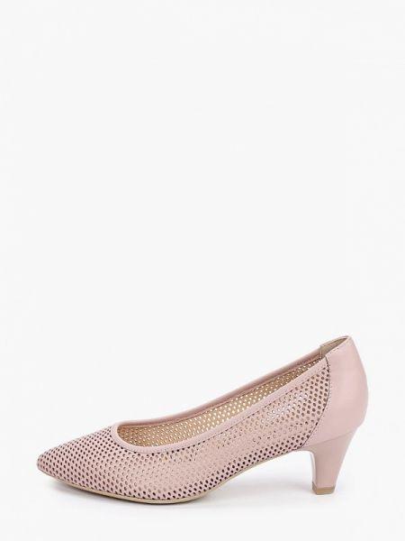 Кожаные туфли лодочки розовый Caprice