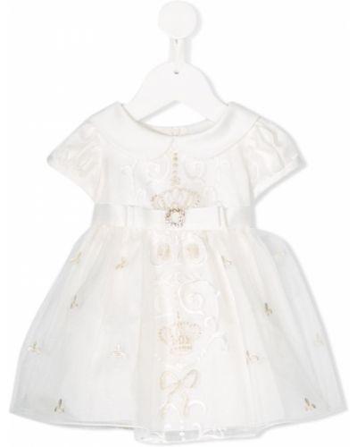 Белое расклешенное платье с рукавами с вырезом круглое Lesy