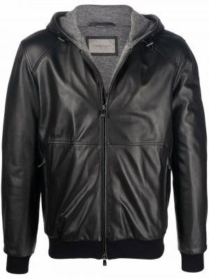 Кожаная куртка с капюшоном - черная Corneliani