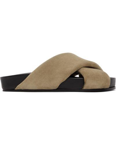 Sandały skórzane - białe Jil Sander
