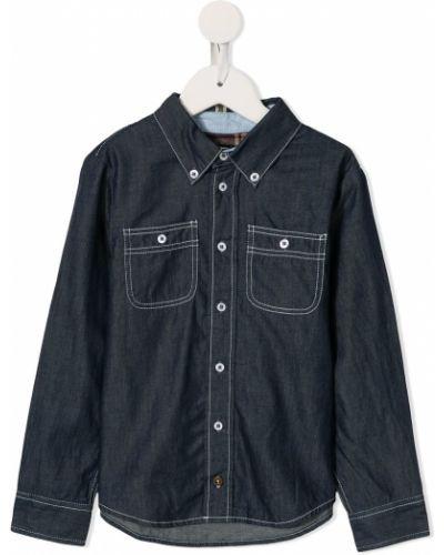 Niebieska koszula jeansowa bawełniana z długimi rękawami Velveteen