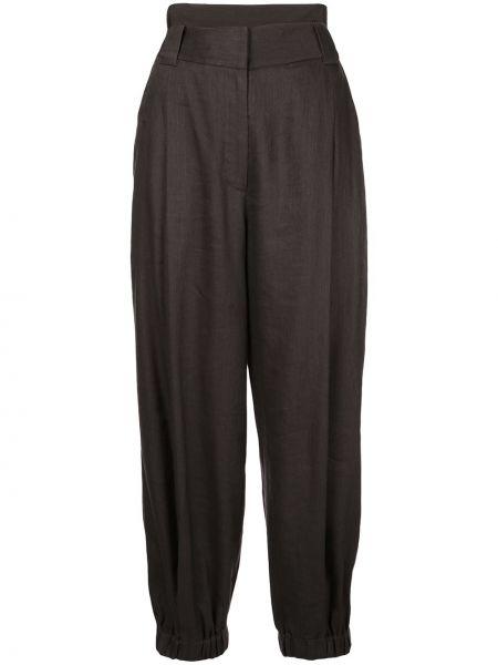 Черные брюки со складками на молнии из вискозы Tibi