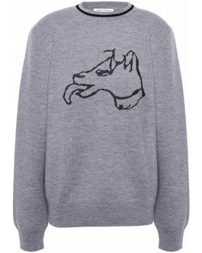 Серый шерстяной свитер Bella Freud