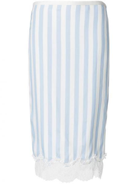 Шелковая ажурная синяя юбка карандаш с рукавом 3/4 Rochas