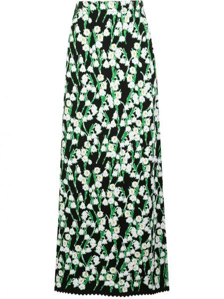 Czarna spódnica maxi z wysokim stanem bawełniana Carolina Herrera