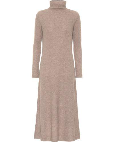 Коричневое кашемировое платье миди Agnona