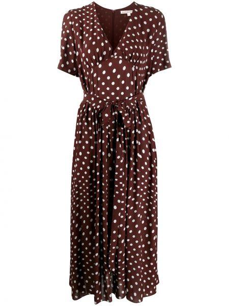 Коричневое с рукавами платье мини в горошек Alexa Chung