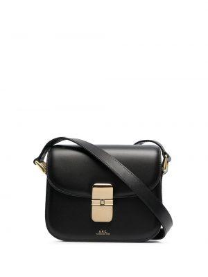 Золотистая кожаная черная маленькая сумка A.p.c.
