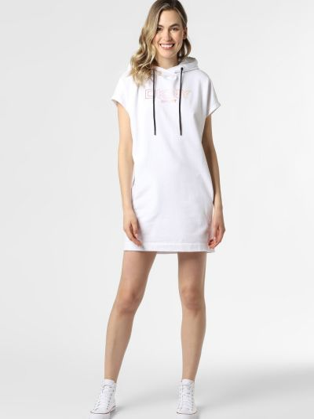 Biała sukienka z printem Dkny