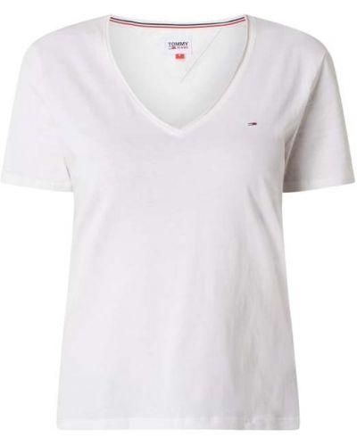 Biały bawełna bawełna koszula jeansowa z dekoltem w szpic Tommy Jeans
