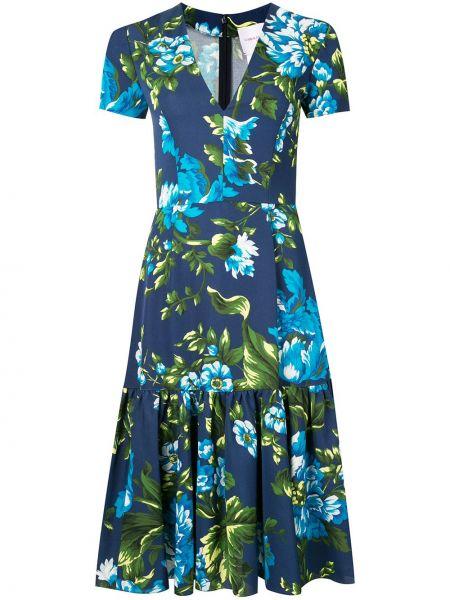 Niebieski bawełna sukienka midi z wiskozy z dekoltem w szpic Carolina Herrera