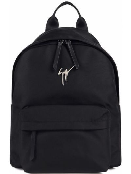 Z paskiem czarny włókienniczy plecak na paskach Giuseppe Zanotti