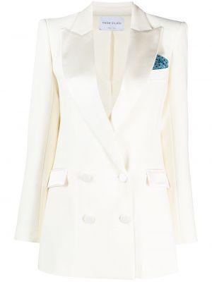 Белый удлиненный пиджак двубортный с карманами Hebe Studio