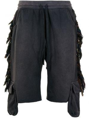 Czarne szorty z wysokim stanem bawełniane Alchemist