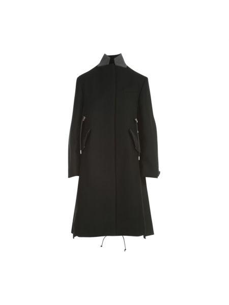 Czarny płaszcz wełniany Sacai