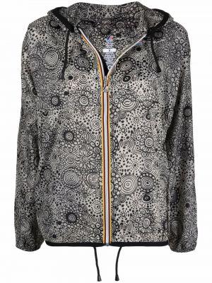 Czarny płaszcz przeciwdeszczowy z kapturem z printem 10 Corso Como