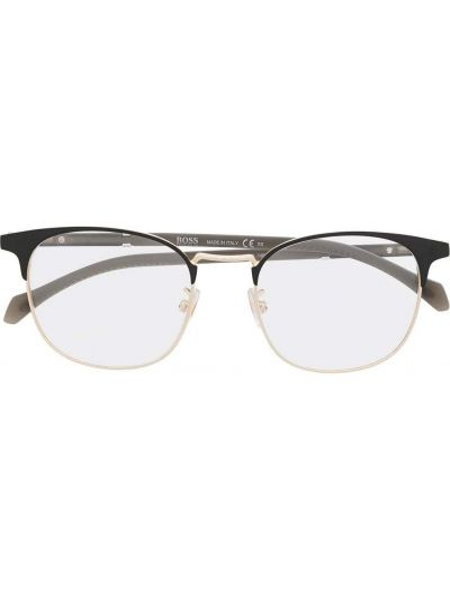 Czarna złota oprawka do okularów Boss