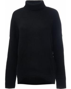 Кашемировый черный свитер с воротником с поясом Amanda Wakeley