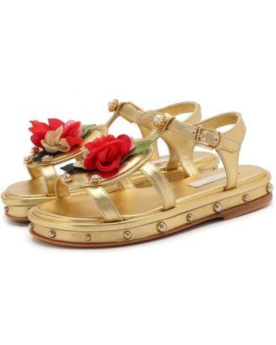 Кожаные босоножки золотой Dolce & Gabbana