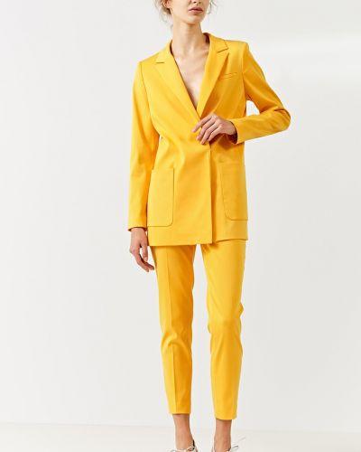 Желтый классическая жилетка с карманами с лацканами Simple