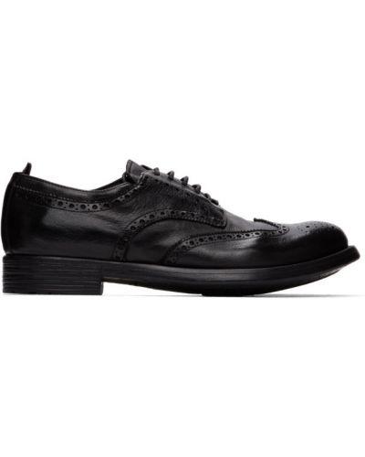 Ażurowy czarny buty brogsy z prawdziwej skóry okrągły nos Officine Creative