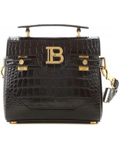 Lakierowane czarny torba na torbę Balmain