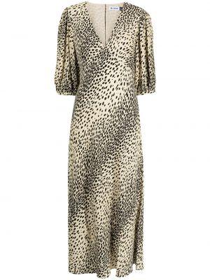 Brązowa sukienka midi z wiskozy Rixo