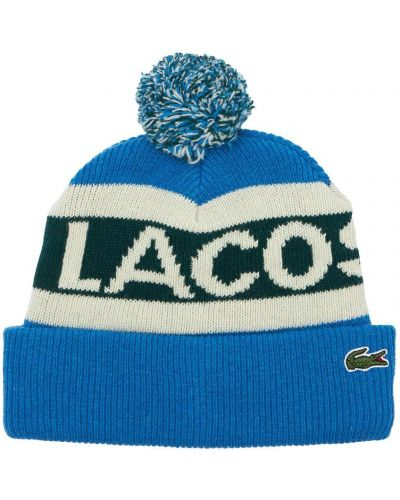 Шерстяная шапка бини - синяя Lacoste