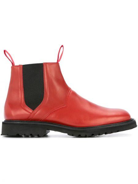 Красные кожаные кожаные ботинки эластичные со вставками Mackintosh 0002