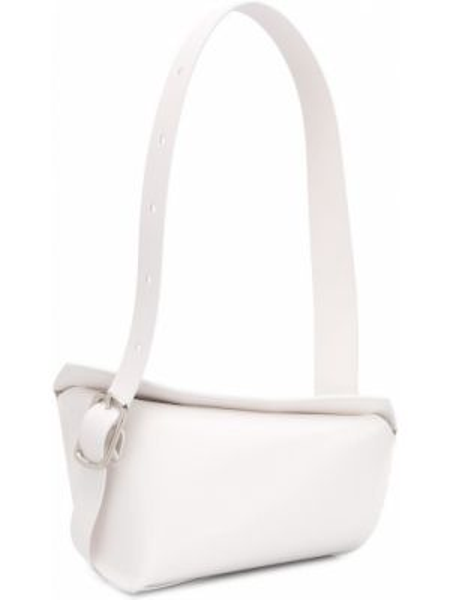 Кожаная асимметричная белая маленькая сумка Venczel