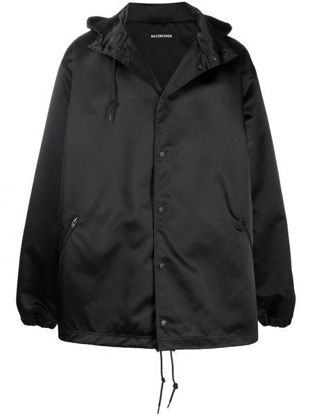 Czarny płaszcz przeciwdeszczowy z długimi rękawami z printem Balenciaga