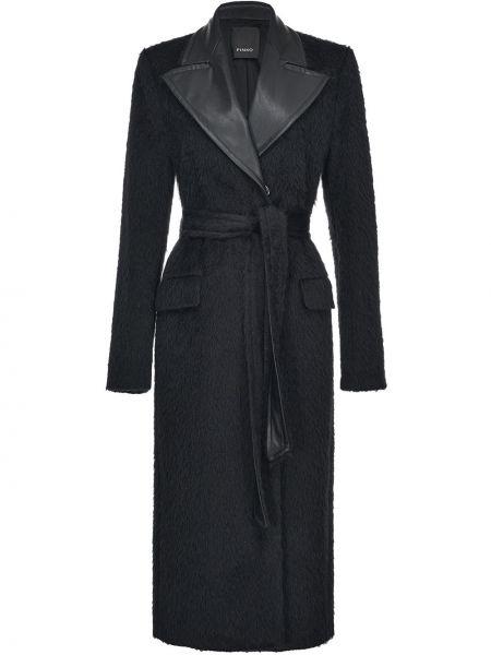 Czarny wełniany długi płaszcz z kieszeniami z klapami Pinko