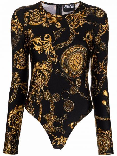 Черное боди с принтом Versace Jeans Couture