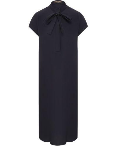 Платье шелковое темно-синий Loro Piana