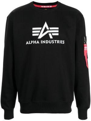 Черная толстовка длинная Alpha Industries