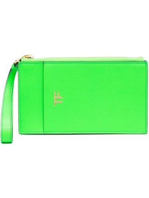 Зеленый кожаный кошелек со шлицей Tom Ford