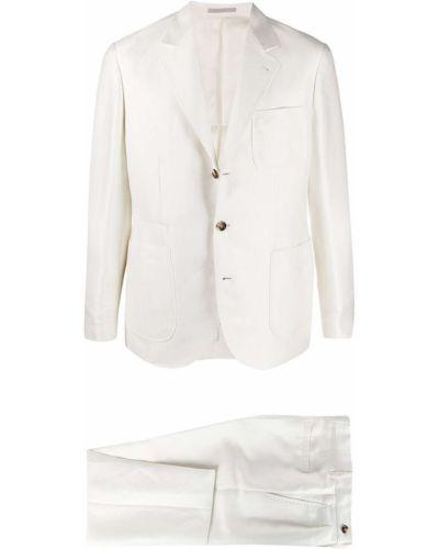 Biały garnitur z jedwabiu Brunello Cucinelli