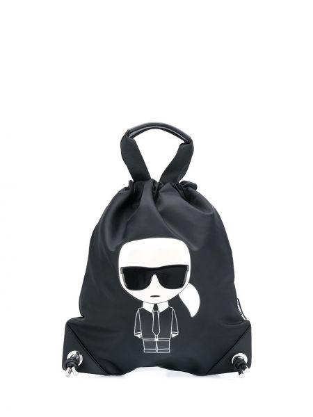 Skórzany plecak czarny Karl Lagerfeld