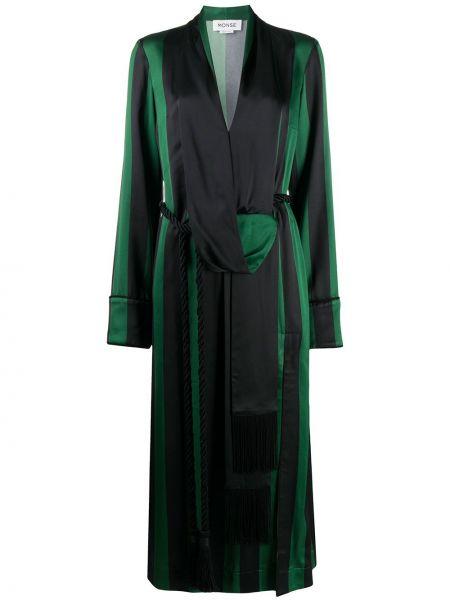 Расклешенное платье миди с V-образным вырезом с длинными рукавами с драпировкой Monse