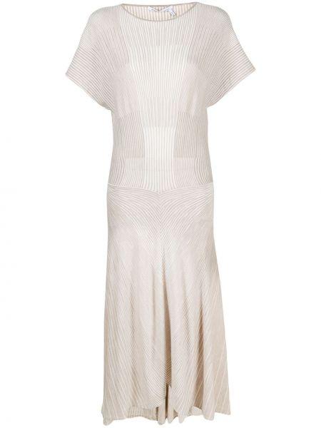 Трикотажное платье мини с вырезом в рубчик Agnona