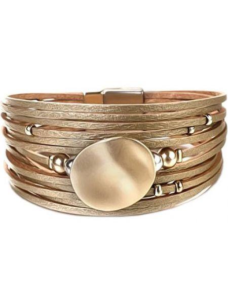 Золотистый желтый кожаный браслет круглый с декоративной отделкой Evora