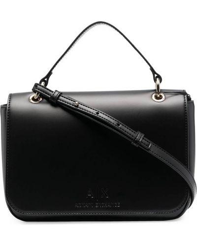 Черный кожаный сумка на плечо с карманами Armani Exchange